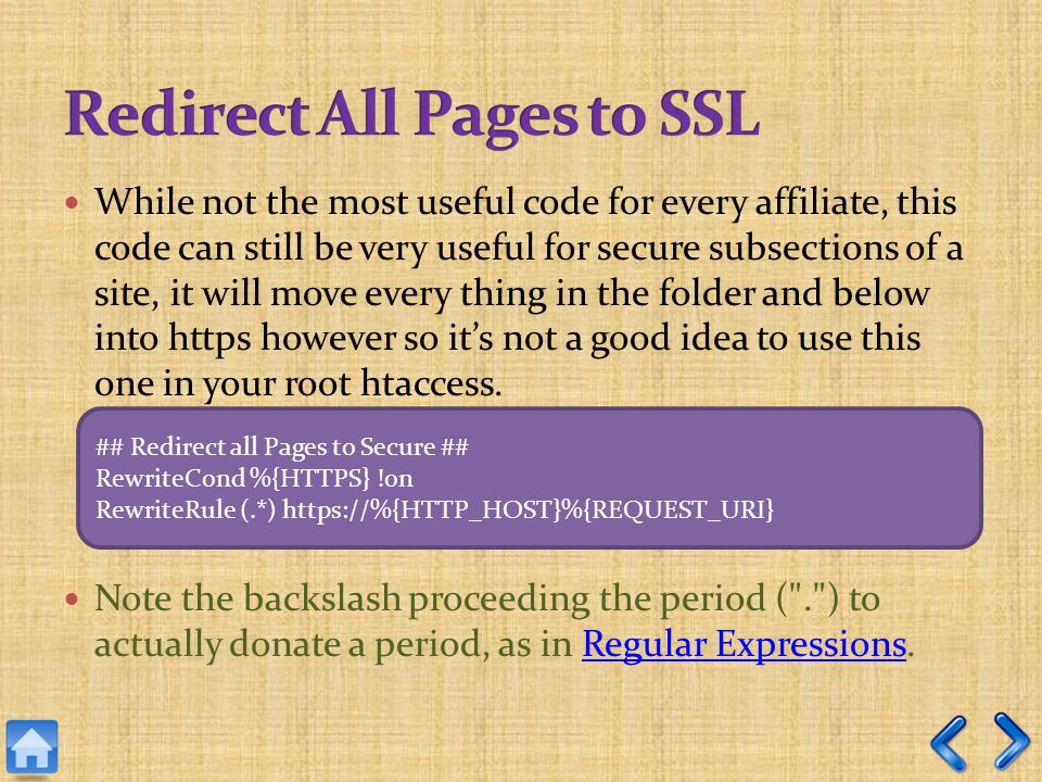 While not the most useful code for every affiliate, this code can still be very useful for secure subsections of a site, it will move every thing in the folder and below into https however so its not a good idea to use this one in your root htaccess.