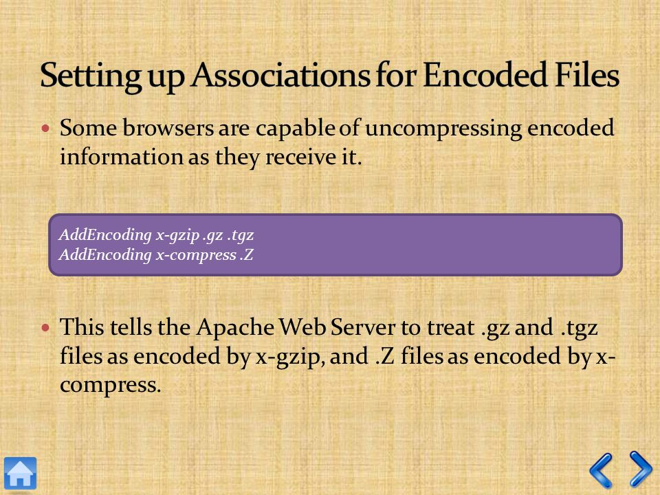 Some browsers are capable of uncompressing encoded information as they receive it.