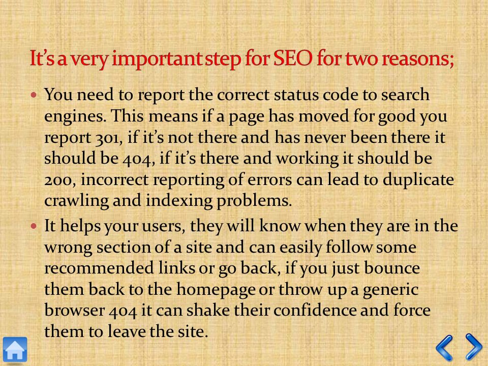 You need to report the correct status code to search engines.