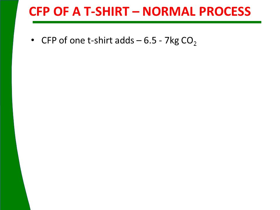 CFP OF A T-SHIRT – NORMAL PROCESS CFP of one t-shirt adds – 6.5 - 7kg CO 2