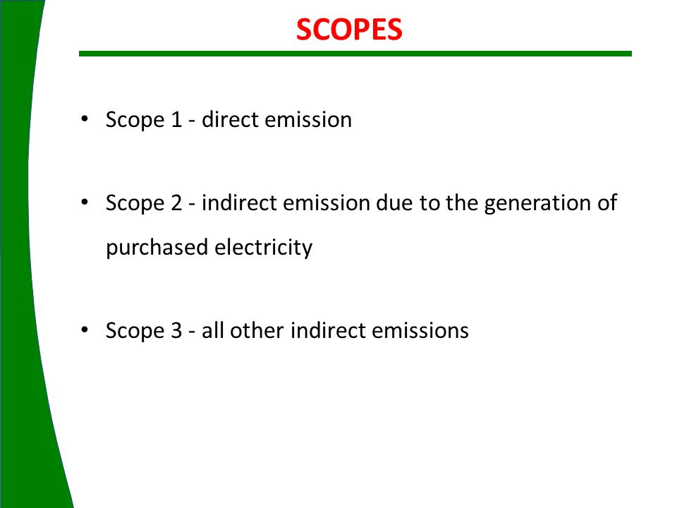 Scope 1 - direct emission Scope 2 - indirect emission due to the generation of purchased electricity Scope 3 - all other indirect emissions SCOPES
