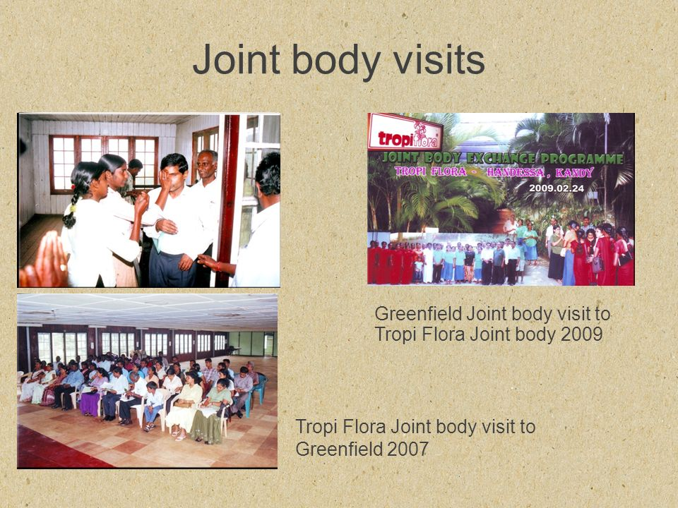 Joint body visits Greenfield Joint body visit to Tropi Flora Joint body 2009 Tropi Flora Joint body visit to Greenfield 2007