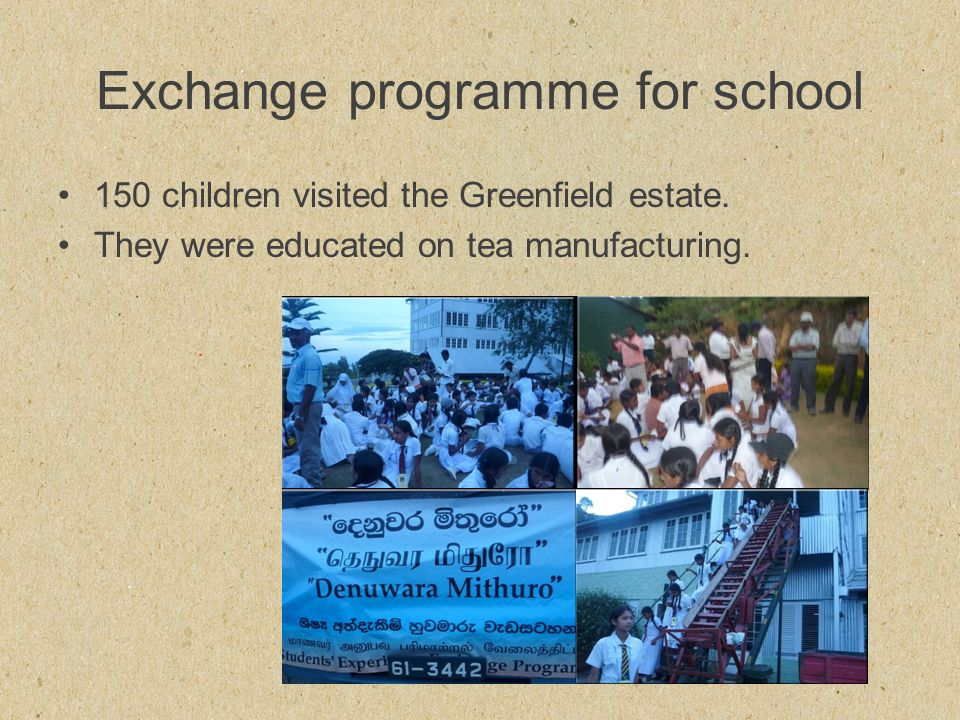 Exchange programme for school 150 children visited the Greenfield estate.