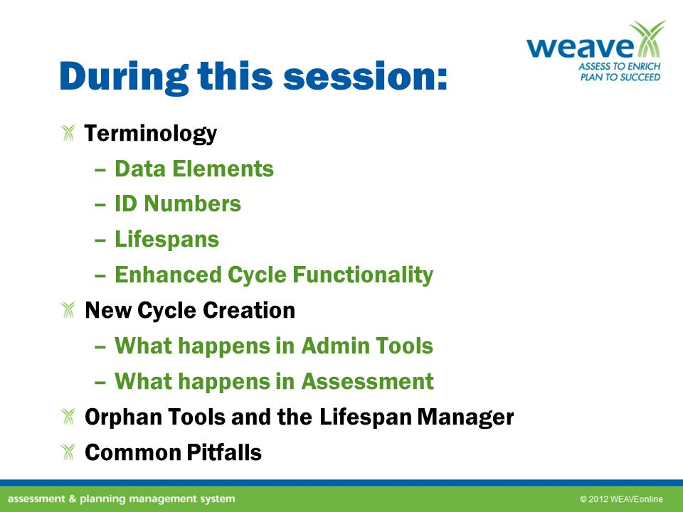 New Cycle: Admin Tools –Each data element in these areas have a lifespan –These areas have Enhanced Cycle Functionality –Edits made in one cycle STAY in that cycle –Use the magnifying glass to see the wording over all existing cycles –When a new cycle is created, all data elements that were set to Keep Active will be stretched into the new cycle –When editing a data element, the edit stays in the cycle where the edit was made –Use the Cycle Text Viewer to see the wording in different cycles General Education* Strategic Plans* Institutional Priorities* Standards* Analysis Questions* Annual Report Sections*