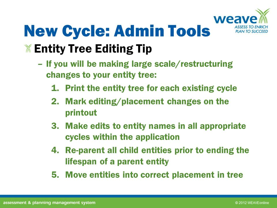 New Cycle: Admin Tools Entity Tree Editing Tip –If you will be making large scale/restructuring changes to your entity tree: 1.Print the entity tree f