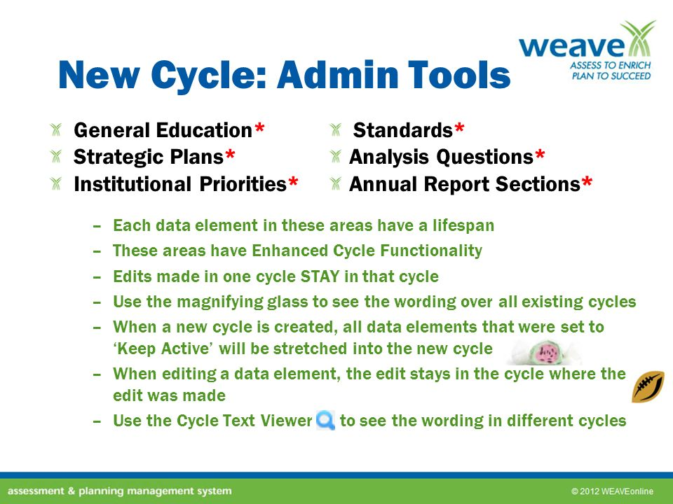 New Cycle: Admin Tools –Each data element in these areas have a lifespan –These areas have Enhanced Cycle Functionality –Edits made in one cycle STAY