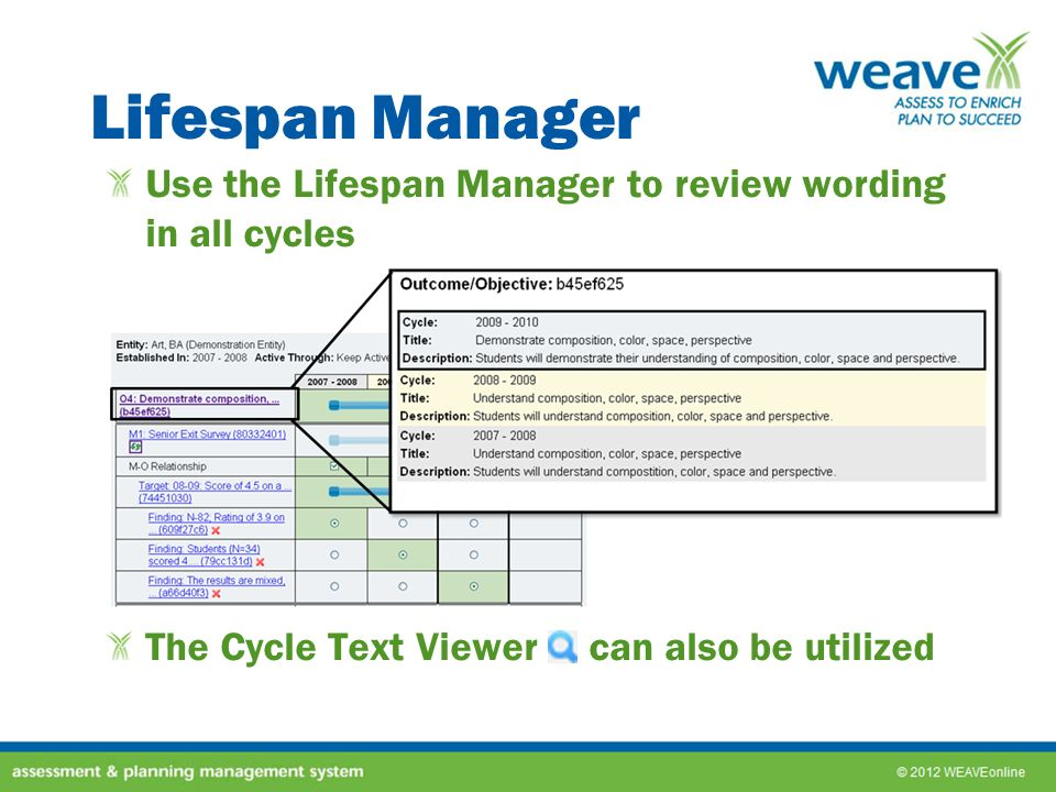 Lifespan Manager Use the Lifespan Manager to review wording in all cycles The Cycle Text Viewer can also be utilized