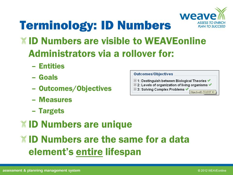 Terminology: Lifespans Lifespans control in which cycles a data element is active using: –Established in Cycle –Active Through Cycle Lifespans control if a data element will be copied into a new cycle Select the last cycle in which that Data Element should be Active OR Select Keep Active if this Data Element should be copied into new cycles