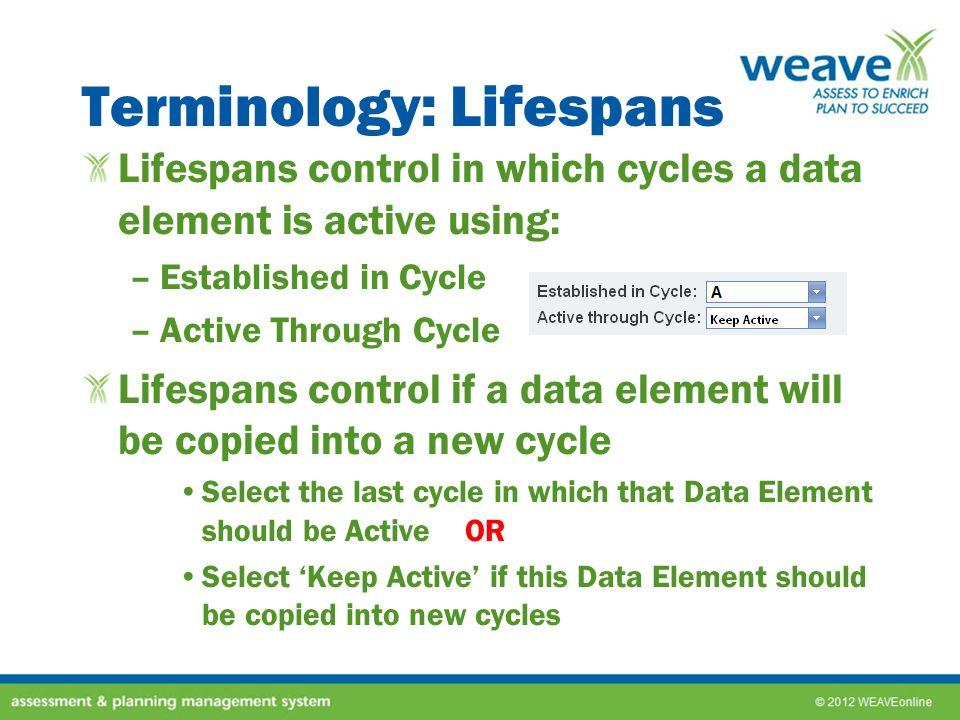 Terminology: Lifespans Lifespans control in which cycles a data element is active using: –Established in Cycle –Active Through Cycle Lifespans control