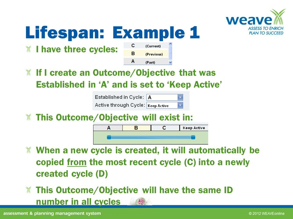 Lifespan: Example 2 I have three cycles: I need to create an Entity that was established in the prior cycle (B), will be in the current cycle (C), and will be in future cycles: Once saved, this Entity will now exist in*: When a new cycle is created, it will automatically be copied from the most recent cycle (C) into a newly created cycle (D) This Entity will have the same ID number in all cycles