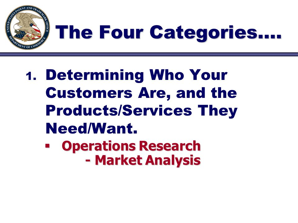 The Four Categories…. 1. 1. Determining Who Your Customers Are, and the Products/Services They Need/Want. Operations Research - Market Analysis Operat
