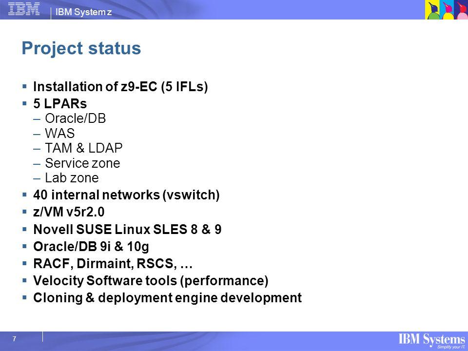 IBM System z 7 Project status Installation of z9-EC (5 IFLs) 5 LPARs –Oracle/DB –WAS –TAM & LDAP –Service zone –Lab zone 40 internal networks (vswitch