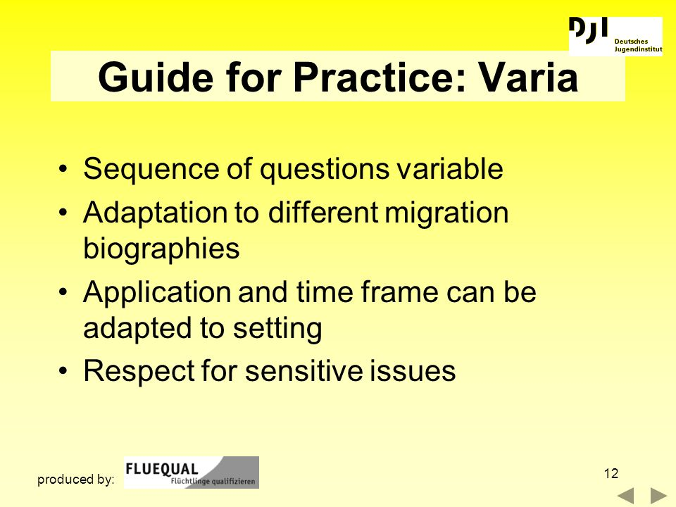 12 Guide for Practice: Varia Sequence of questions variable Adaptation to different migration biographies Application and time frame can be adapted to