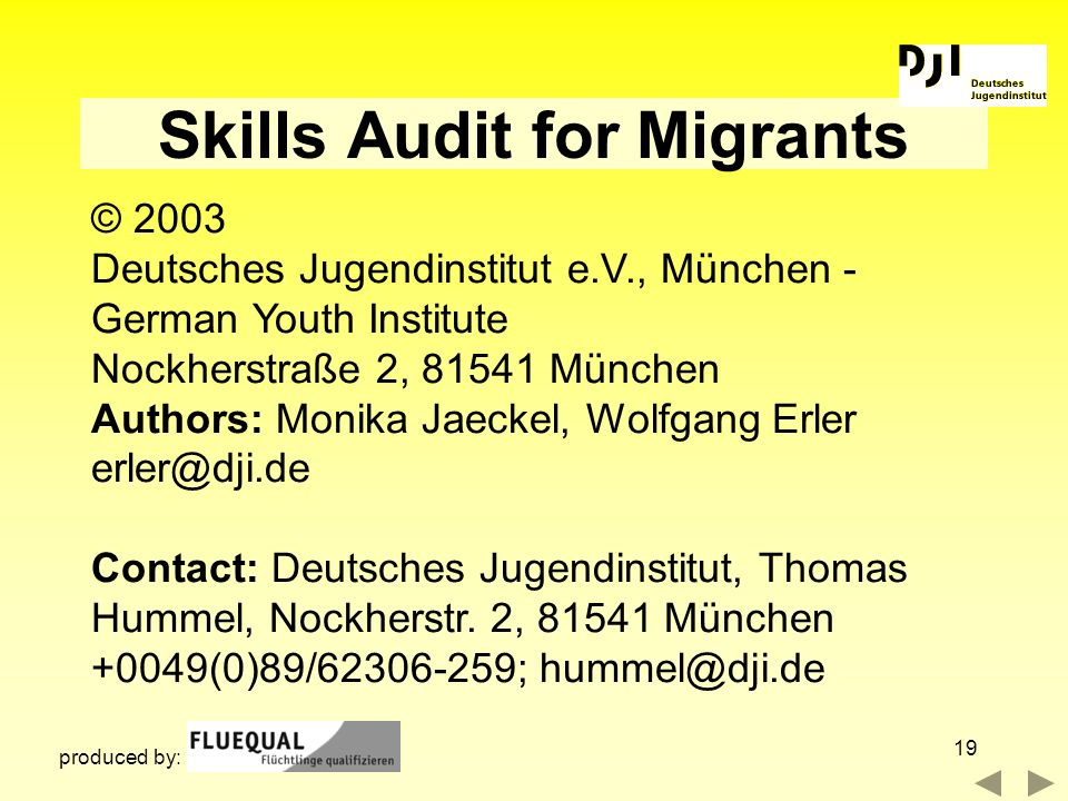 19 Skills Audit for Migrants © 2003 Deutsches Jugendinstitut e.V., München - German Youth Institute Nockherstraße 2, 81541 München Authors: Monika Jae