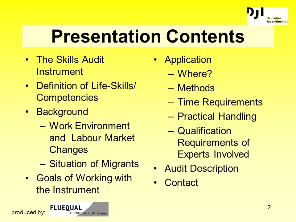 2 Presentation Contents The Skills Audit Instrument Definition of Life-Skills/ Competencies Background –Work Environment and Labour Market Changes –Si
