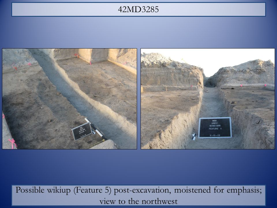 42MD3285 Possible wikiup (Feature 5) post-excavation, moistened for emphasis; view to the northwest