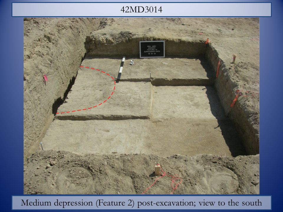 42MD3014 Medium depression (Feature 2) post-excavation; view to the south