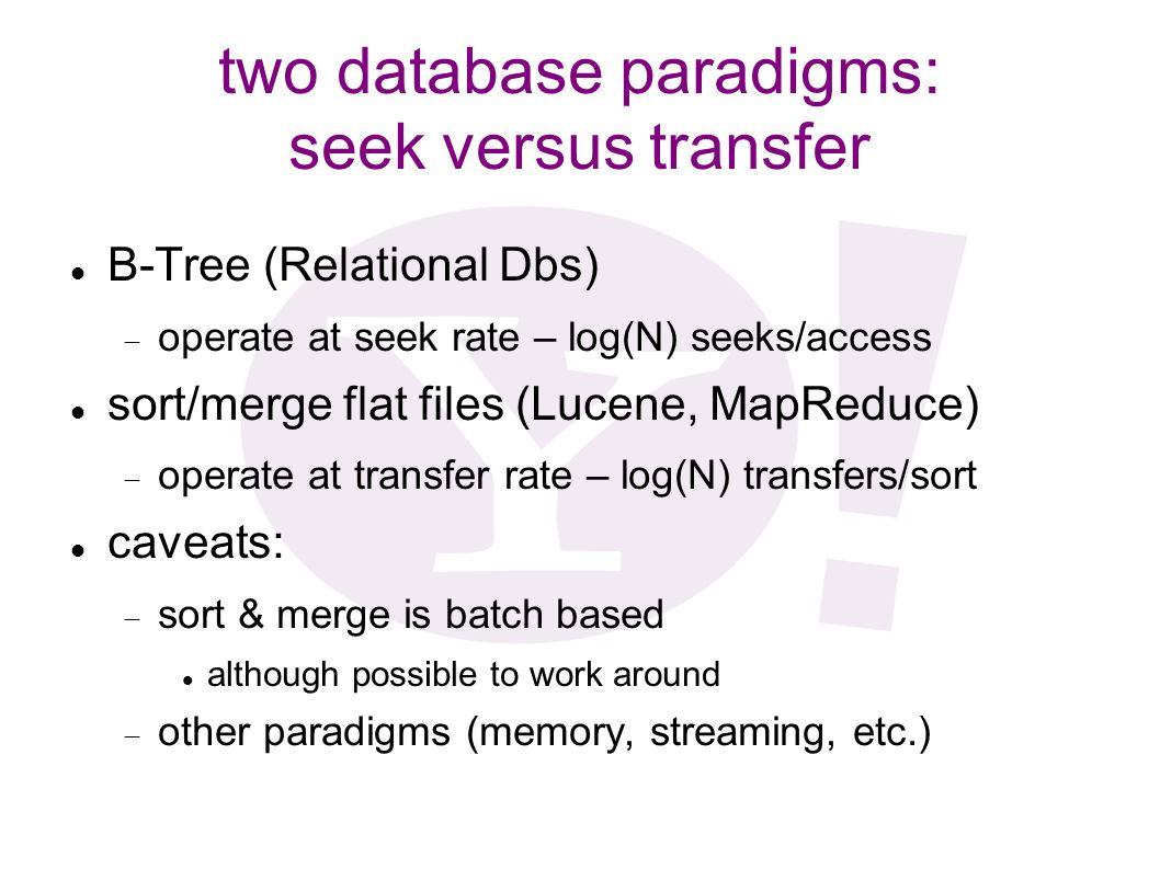 two database paradigms: seek versus transfer B-Tree (Relational Dbs) operate at seek rate – log(N) seeks/access sort/merge flat files (Lucene, MapRedu