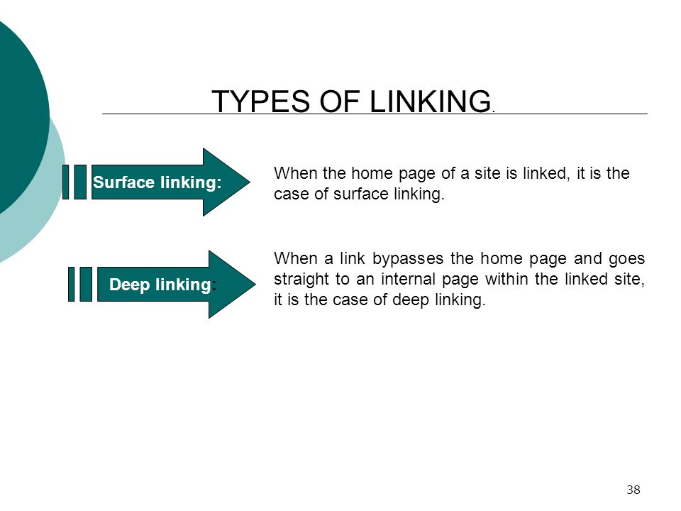 38 TYPES OF LINKING. Surface linking: When the home page of a site is linked, it is the case of surface linking. Deep linking: When a link bypasses th