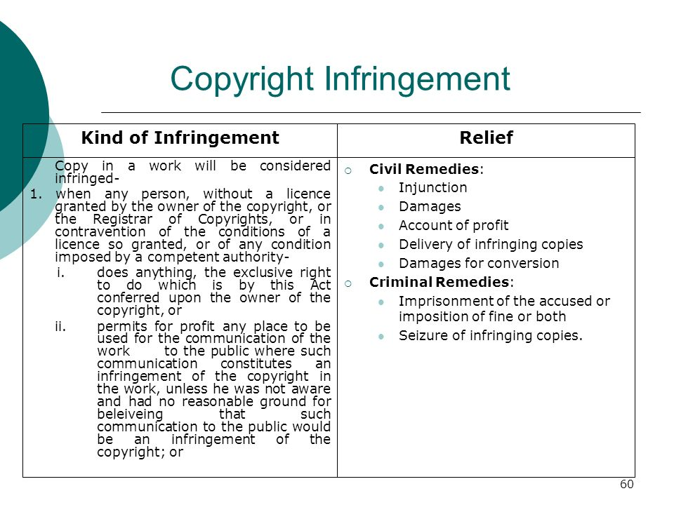 60 Copyright Infringement Copy in a work will be considered infringed- 1. when any person, without a licence granted by the owner of the copyright, or