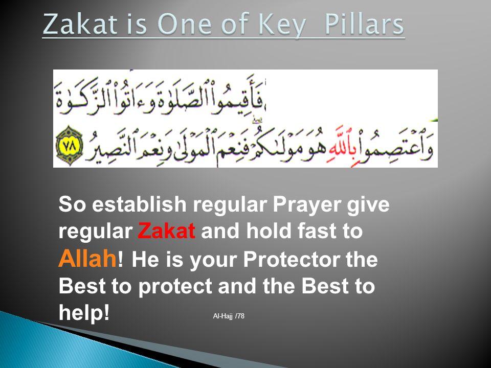 Al-Hajj /78 So establish regular Prayer give regular Zakat and hold fast to Allah ! He is your Protector the Best to protect and the Best to help!