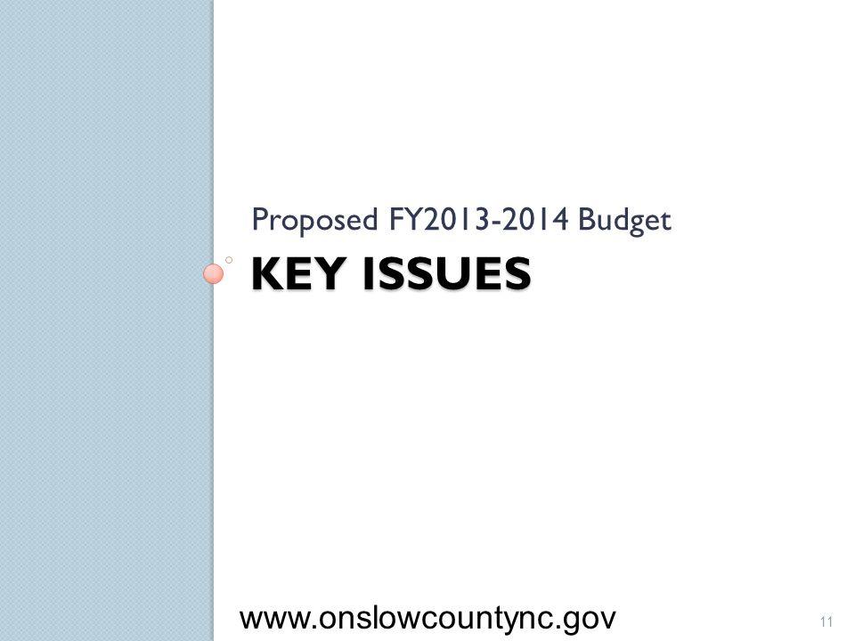 KEY ISSUES Proposed FY2013-2014 Budget 11 www.onslowcountync.gov