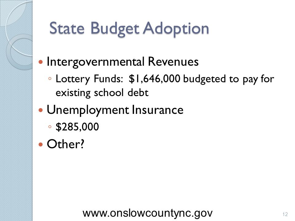 State Budget Adoption Intergovernmental Revenues Lottery Funds: $1,646,000 budgeted to pay for existing school debt Unemployment Insurance $285,000 Ot