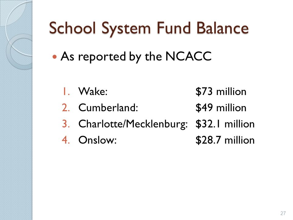 School System Fund Balance As reported by the NCACC 1.Wake:$73 million 2.Cumberland:$49 million 3.Charlotte/Mecklenburg:$32.1 million 4.Onslow:$28.7 m