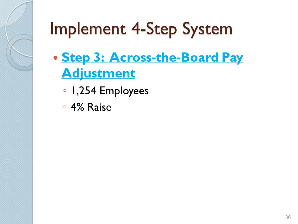 Implement 4-Step System Step 3: Across-the-Board Pay Adjustment 1,254 Employees 4% Raise 36