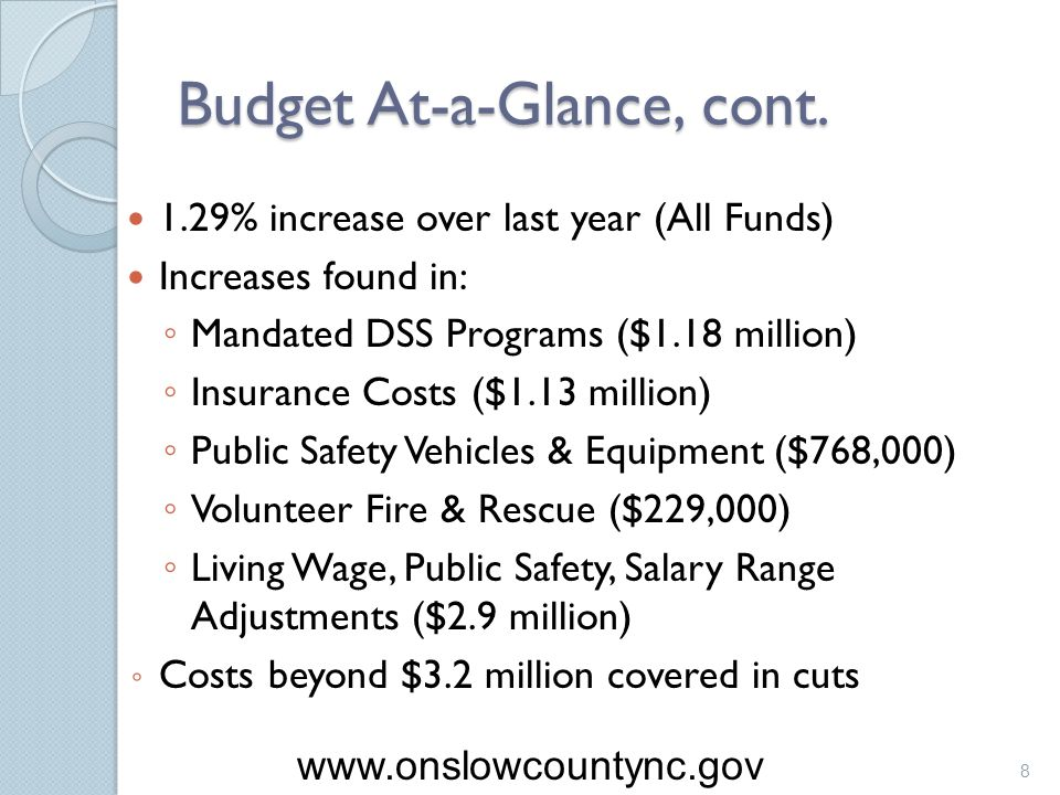Budget At-a-Glance, cont. 1.29% increase over last year (All Funds) Increases found in: Mandated DSS Programs ($1.18 million) Insurance Costs ($1.13 m