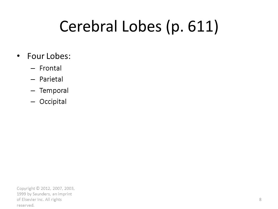 Copyright © 2012, 2007, 2003, 1999 by Saunders, an imprint of Elsevier Inc. All rights reserved. Cerebral Lobes (p. 611) Four Lobes: – Frontal – Parie