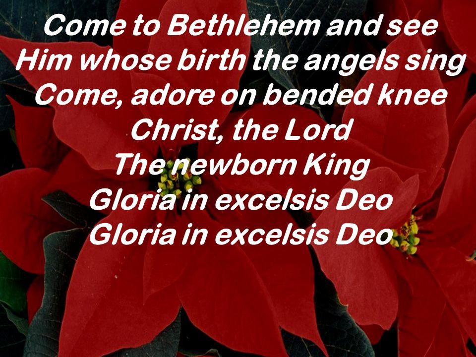 Come to Bethlehem and see Him whose birth the angels sing Come, adore on bended knee Christ, the Lord The newborn KingGloria in excelsis Deo