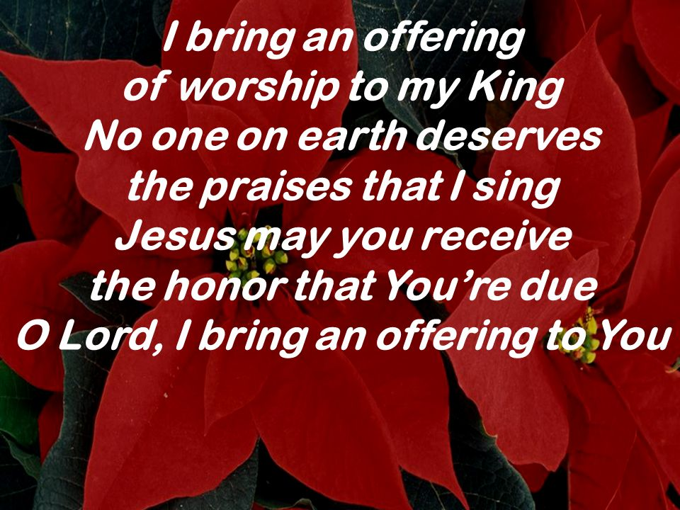I bring an offering of worship to my King No one on earth deserves the praises that I sing Jesus may you receive the honor that Youre due O Lord, I br