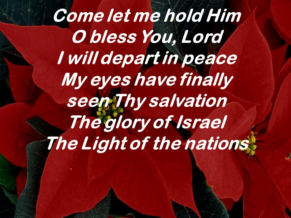 Come let me hold Him O bless You, Lord I will depart in peace My eyes have finally seen Thy salvation The glory of Israel The Light of the nations
