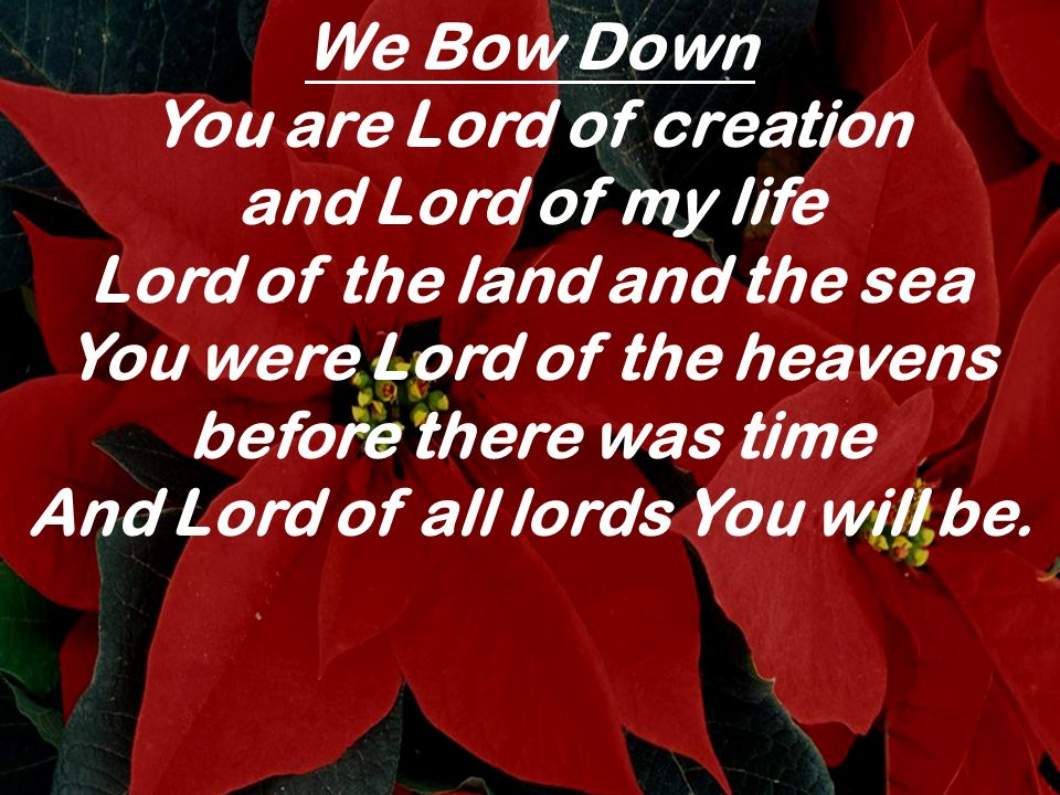 We Bow Down You are Lord of creation and Lord of my life Lord of the land and the sea You were Lord of the heavens before there was time And Lord of a