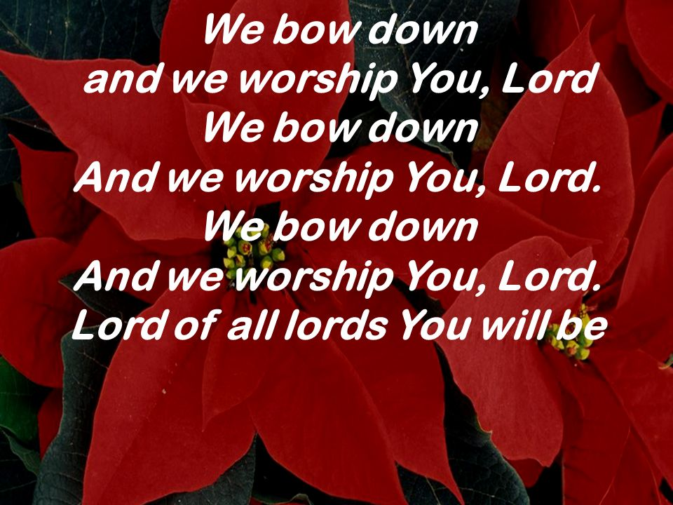 We bow down and we worship You, Lord We bow down And we worship You, Lord. We bow down And we worship You, Lord. Lord of all lords You will be