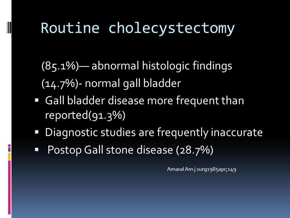 Routine cholecystectomy (85.1%) abnormal histologic findings (14.7%)- normal gall bladder Gall bladder disease more frequent than reported(91.3%) Diagnostic studies are frequently inaccurate Postop Gall stone disease (28.7%) Amaral Am j surg1985apr;149