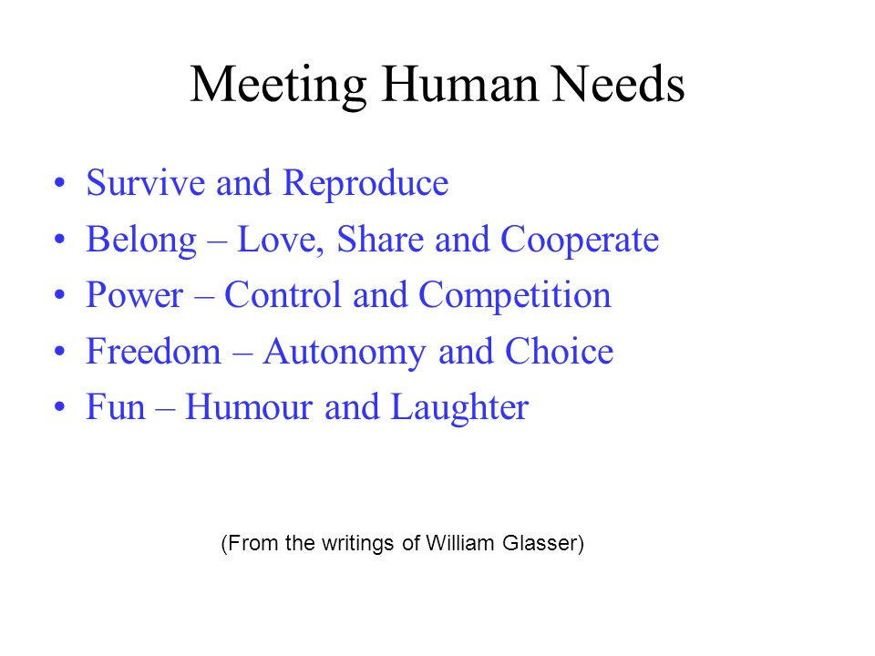 Meeting Human Needs Survive and Reproduce Belong – Love, Share and Cooperate Power – Control and Competition Freedom – Autonomy and Choice Fun – Humou