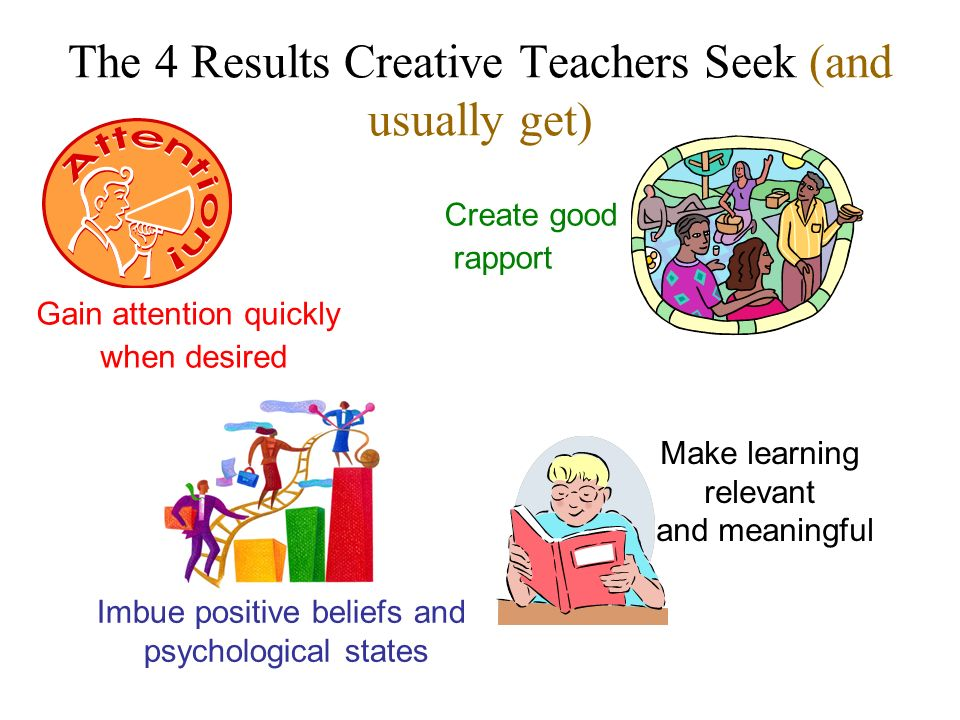 The 4 Results Creative Teachers Seek (and usually get) Gain attention quickly when desired Create good rapport Imbue positive beliefs and psychologica