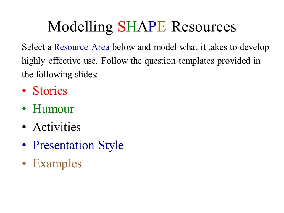 Modelling SHAPE Resources Select a Resource Area below and model what it takes to develop highly effective use. Follow the question templates provided