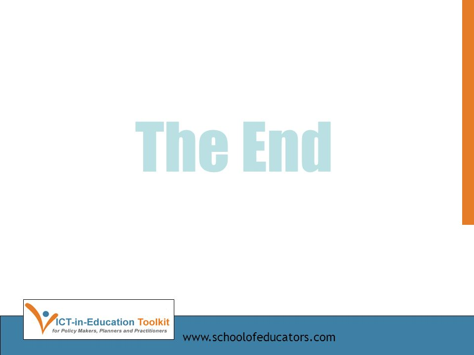 The End www.schoolofeducators.com