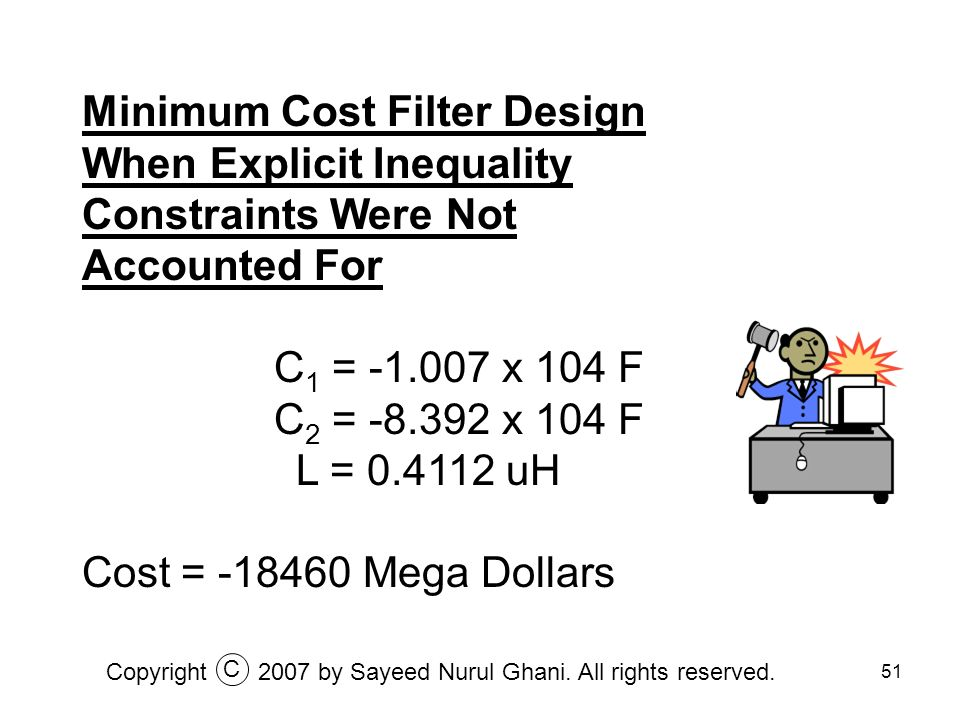 51 Minimum Cost Filter Design When Explicit Inequality Constraints Were Not Accounted For C 1 = -1.007 x 104 F C 2 = -8.392 x 104 F L = 0.4112 uH Cost
