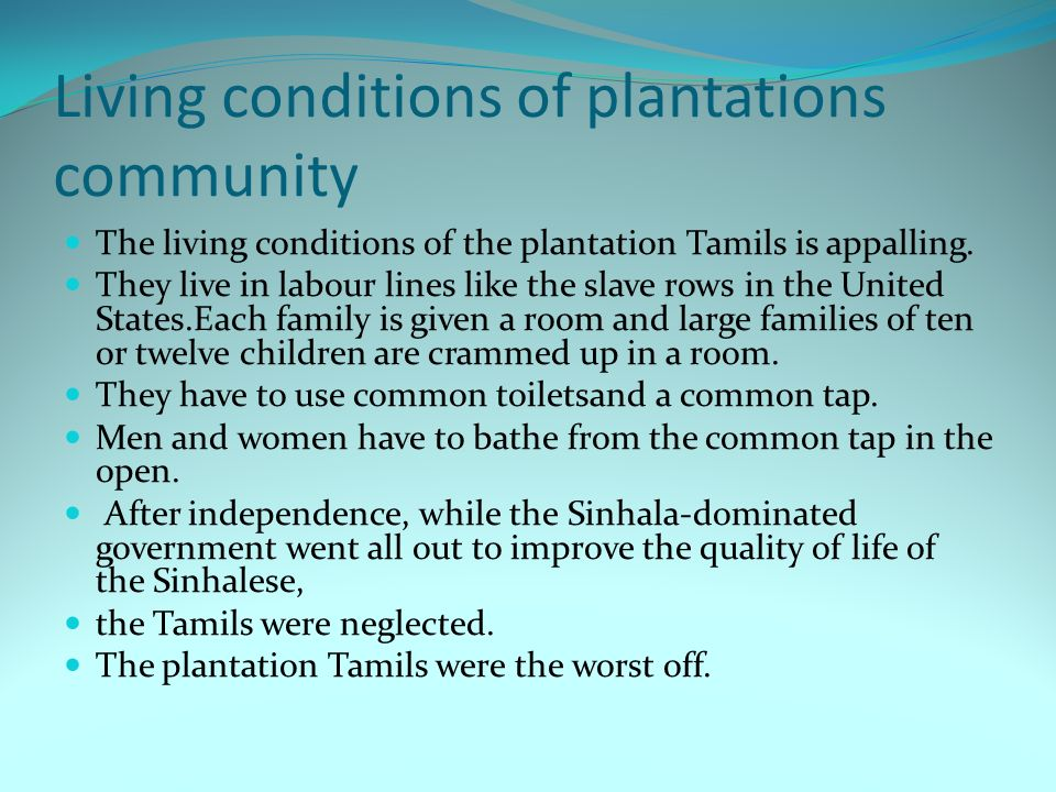 Communal violence experienced by Tamils since Independence On many occasions the Tamil community as a whole has suffered violence at the hand of the Sinhala majority.