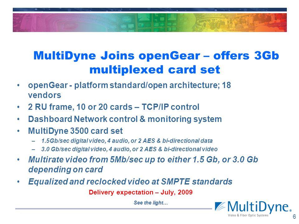 See the light… MultiDyne Joins openGear – offers 3Gb multiplexed card set 5