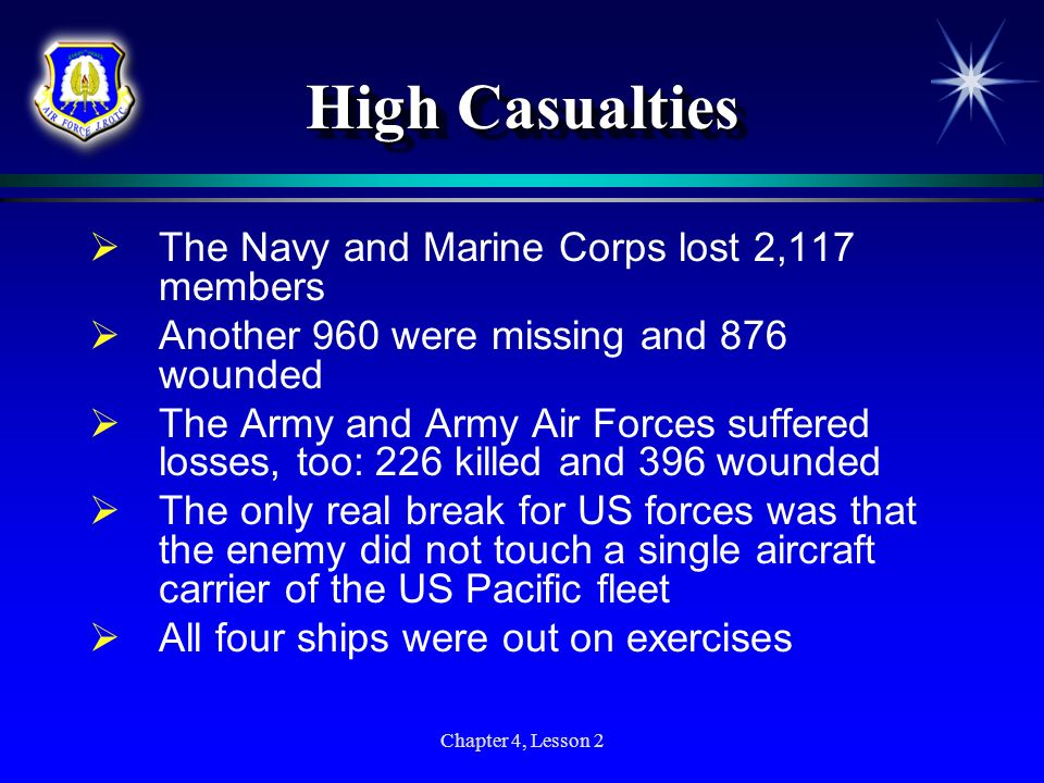 Chapter 4, Lesson 2 High Casualties The Navy and Marine Corps lost 2,117 members Another 960 were missing and 876 wounded The Army and Army Air Forces
