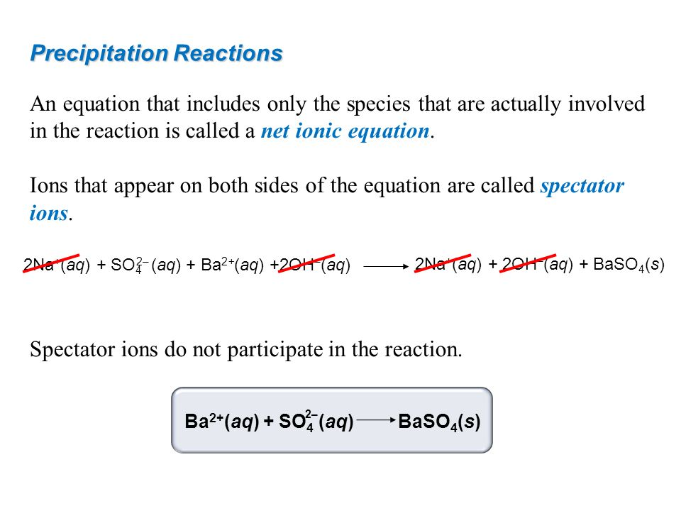 Precipitation Reactions An equation that includes only the species that are actually involved in the reaction is called a net ionic equation. Ions tha
