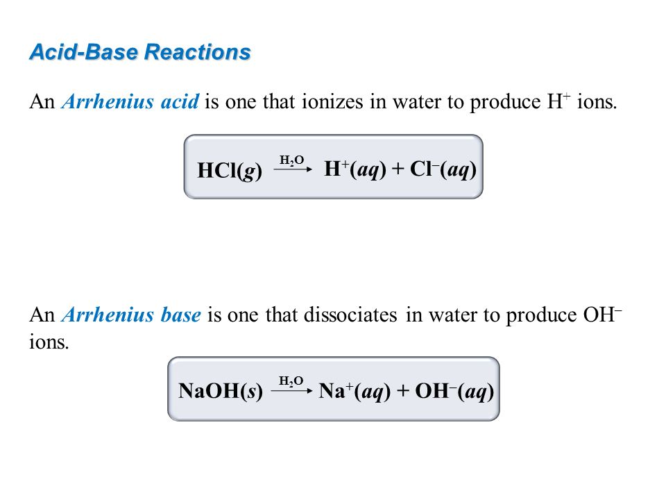 Acid-Base Reactions An Arrhenius acid is one that ionizes in water to produce H + ions. An Arrhenius base is one that dissociates in water to produce