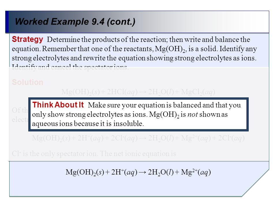 Worked Example 9.4 (cont.) Strategy Determine the products of the reaction; then write and balance the equation. Remember that one of the reactants, M