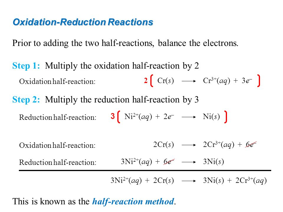 Oxidation-Reduction Reactions Prior to adding the two half-reactions, balance the electrons. Step 1: Multiply the oxidation half-reaction by 2 Step 2: