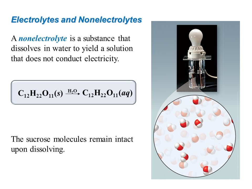 Electrolytes and Nonelectrolytes A nonelectrolyte is a substance that dissolves in water to yield a solution that does not conduct electricity. The su